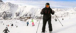 skiing, posing on slopes