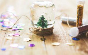 homemade snow globe with jar